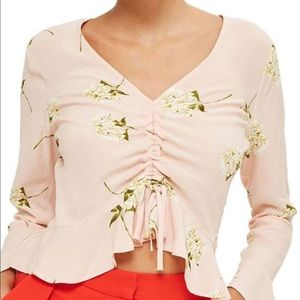 Topshop // Pink Floral Long Sleeve Ruched Top